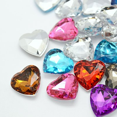 About 25 pcs of Acrylic Rhinestone Cabochons, Mother's Day Craft Components Supply, Faceted Heart, Mixed Color, (Cute Mothers Day Crafts)