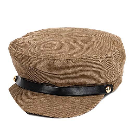 Solid Color Corduroy Beret Casual Cap Man Woman Newsboy Hat Flat Hat,Light Brown