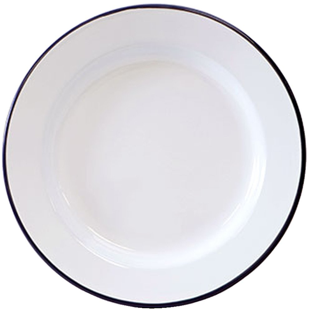 Amazing Amazon.com | Crow Canyon Enamelware   Dinner Plate  Solid White With Black  Rim: Dinner Plates