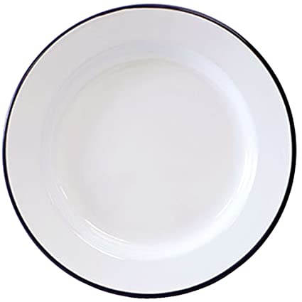 Crow Canyon Enamelware - Dinner Plate -Solid White with Black Rim  sc 1 st  Amazon.com & Amazon.com | Crow Canyon Enamelware - Dinner Plate -Solid White with ...