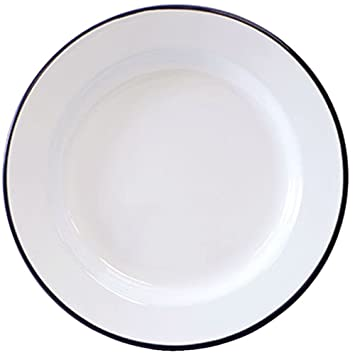 Crow Canyon Enamelware - Dinner Plate -Solid White with Black Rim  sc 1 st  Amazon.com : white and black dinnerware - pezcame.com