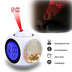 Projection Alarm Clock Wake Up Bedroom with Data and Temperature Display Talking Function, LED Wall/Ceiling Projection,Customize The pattern-042.Background, Vintage, Birds, Gift, Bow