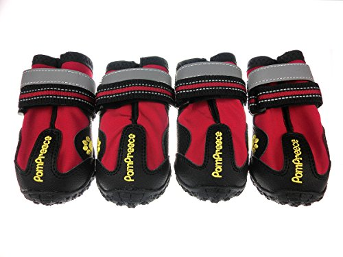 - Lymenden Dog Boots,Waterproof Dog Shoes,Paw Protectors with Reflective and Adjustable Straps and Wear-Resisting Soles,4pcs (1, Red)