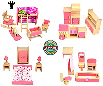 Giraffe 4 Set Pink Wooden Dollhouse Furniture, Miniature Bathroom/ Kid Room/ Bedroom/ Kitchen House Furniture Dollhouse Decoration Pretend Play Kids Children Toy