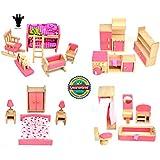 Giraffe 4 Set Pink Wooden Dollhouse Furniture, Miniature Bathroom  Kid Room  Bedroom  Kitchen House