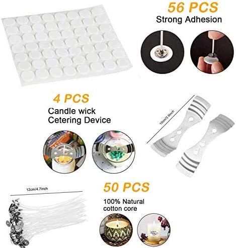 DIY Candle Making Kit Supplies, Colored Candle Beeswax Candle Craft Tools Including Wax Melting Pot, Beeswax, Colors Candle Dye, 8 Candle Jars, 50 Wicks, 4 Wick Clip, Wicks Sticker and Mixing Spoon