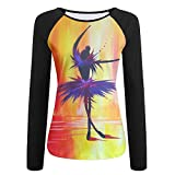 CASUQC Qcfg Contrast Color Long Sleeve T-Shirt Watercolor Ballet Girl Fashion Comfortable Womens T-Shirt X-Large