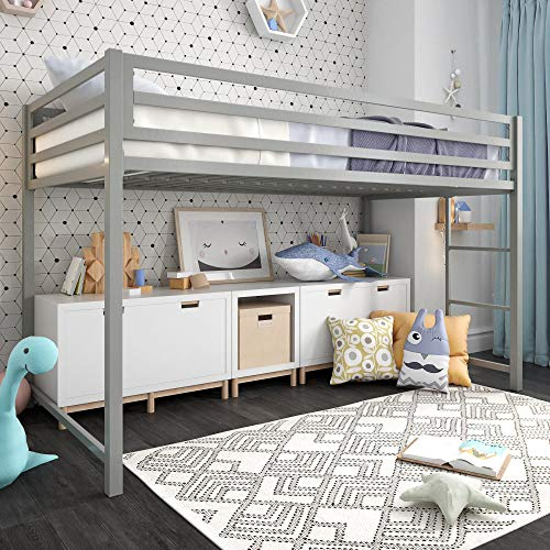 Style Full Bunk Study Loft (DHP 4309429 Miles Junior Metal Loft Bed Kid's Bedroom, Space-Saving Design, Twin, Sliver)