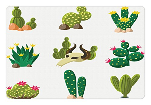 Ambesonne Cactus Pet Mat for Food and Water, Mexican South Desert with Animals Cactus Plants Skeletons Flowers Cartoon Image, Rectangle Non-Slip Rubber Mat for Dogs and Cats, Multicolor