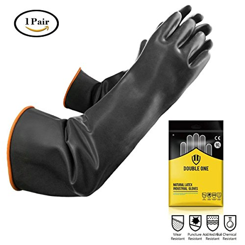 Double One Chemical Resistant Gloves,Safety Work Cleaning Protective Heavy Duty Industrial Gloves,Natural Latex Elbow Length 22'' Length Black 1 Pair Size 10 by DOUBLE ONE (Image #1)