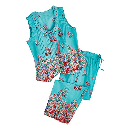 La Cera Women's Aqua Roses Pajamas - Blue PJ Sleeveless Shirt Capri Pants Set - XL