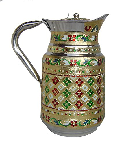 Indian Fine Stainless Steel water Pitcher , Meenakari decorative Jug , Table ware , Drink ware Home Kitchen Water Storage Vessel - 1.5 liter Capacity (Jaipuri) (Decorative Water Pitcher compare prices)