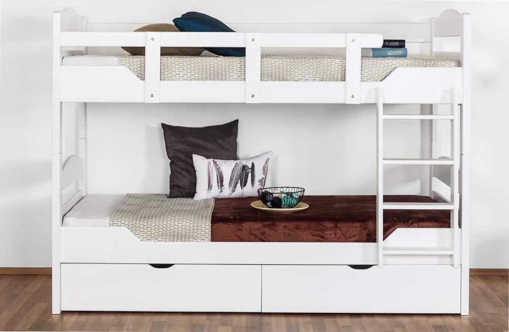 Etagenbett für Erwachsene Easy Premium Line  K13 n inkl. 2 Schubladen und 2 Abdeckblenden, Kopf- und Fußteil gerundet, Buche Vollholz massiv Weißszlig; - 90 x 200 cm (B x L), teilbar