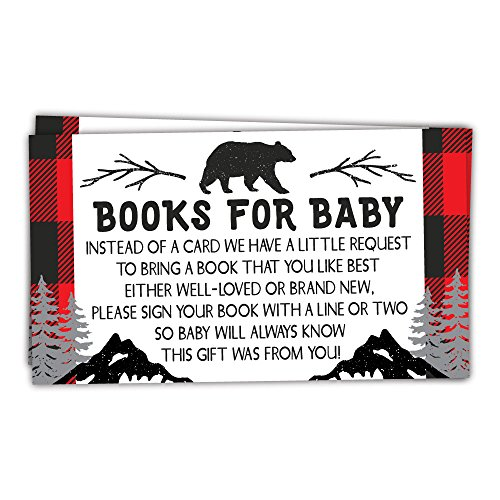 50 Lumberjack Books for Baby Shower Request Cards - Invitation Inserts - Rustic Baby Shower
