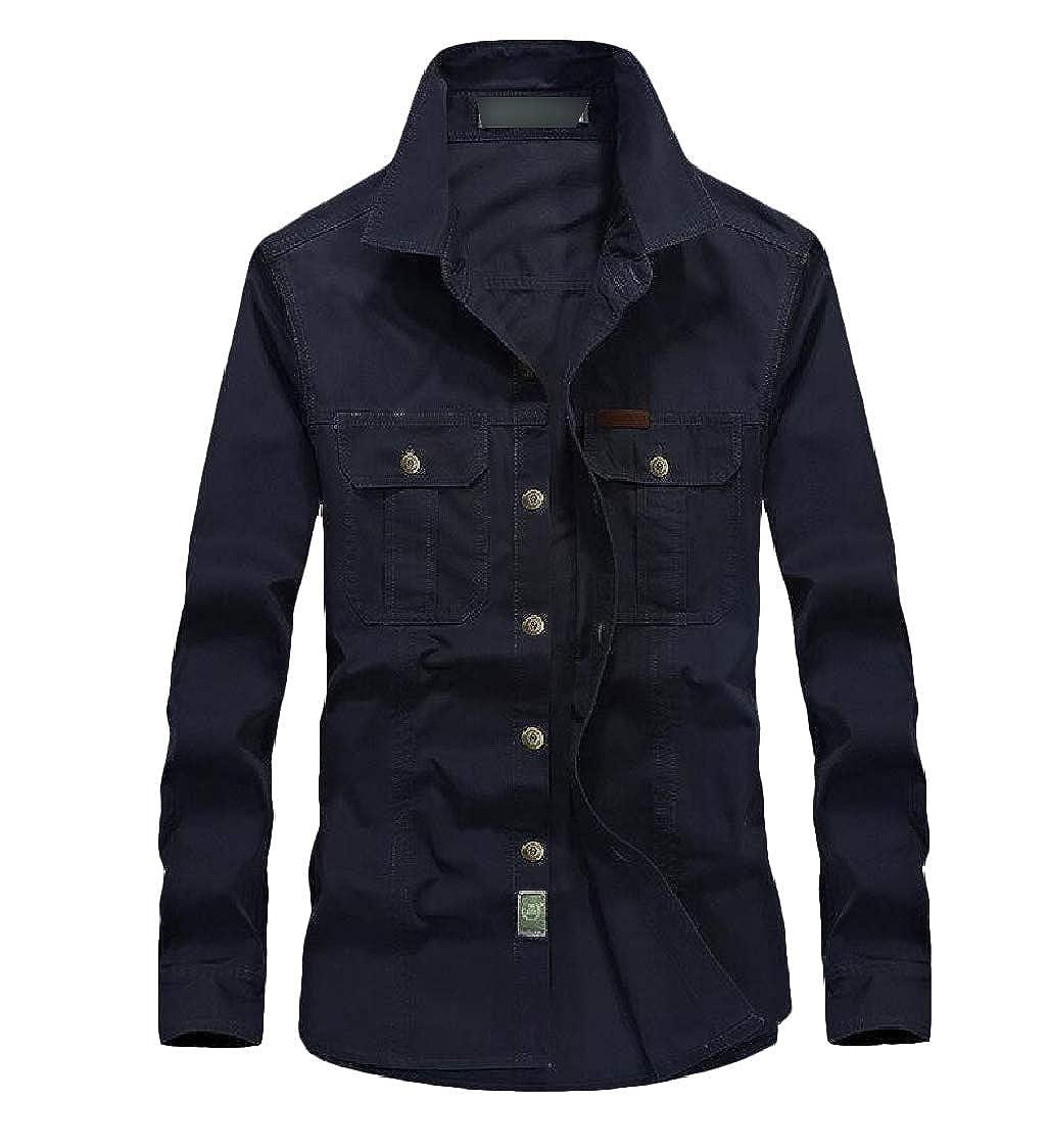 Lutratocro Mens Long-Sleeve Casual Button Down Slim Cotton Shirt