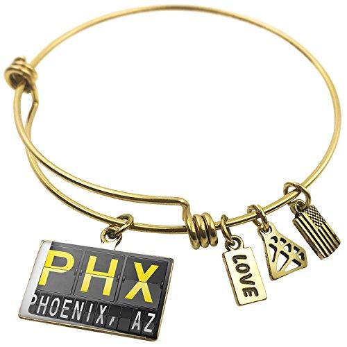 Expandable Wire Bangle BraceletPHX Airport Code for Phoenix, AZ, - Az Phoenix Airport