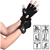 WENER Workout Gloves, Anti-skid, wear-resistant, breathable, Suitable for fitness, gym, weight lifting, pull-up, cross training, exercise and outdoor sports. (Men & Women) (Black, Large)