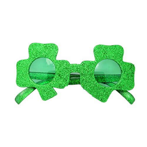 Winzik St. Patrick's Day Irish Sunglasses Whimsy Glasses Shamrock Clover Party Gifts,Green