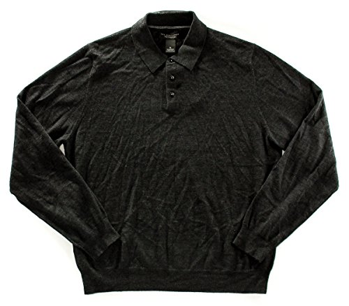 Price comparison product image The Men's Store Merino Wool Polo Collar Sweater, Dark Grey, XL