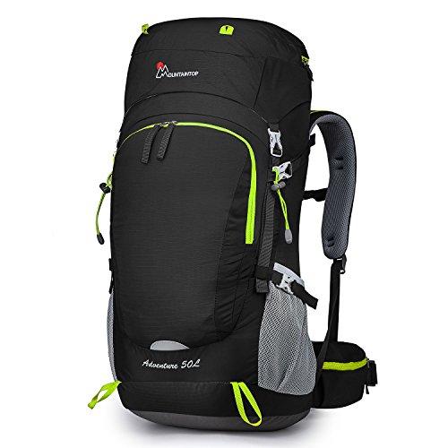 MOUNTAINTOP 80L Internal Frame Backpack Hiking Backpack with Rain Cover YKK buckle-5820II (75L Black)