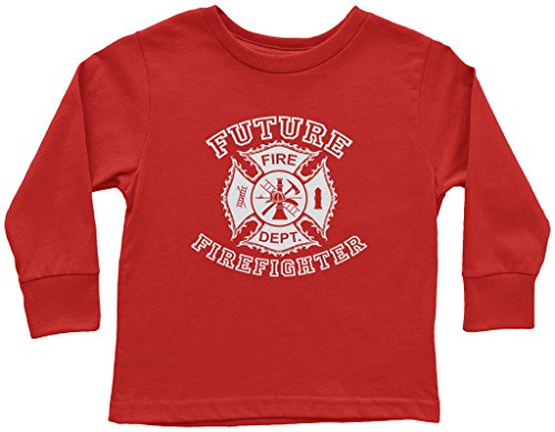 Threadrock Little Boys' Future Firefighter Toddler L/S T-Shirt 4T Red