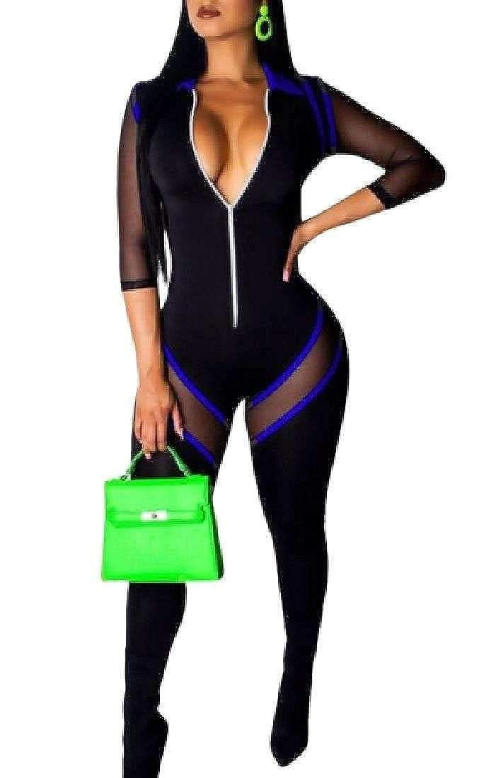 WAWAYA Womens Bodycon Fashion Party Zipper Mesh Contrast Color Long Jumpsuits