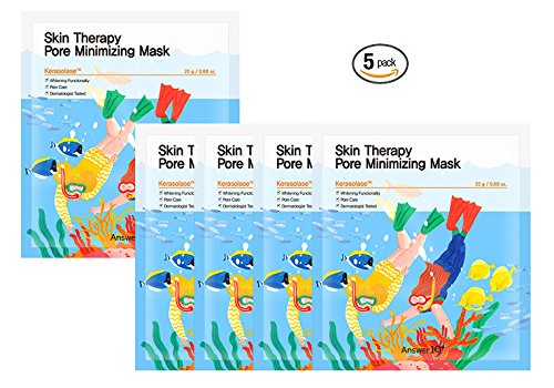 [ANSWER NINETEEN+] Skin Therapy Pore Minimizing Mask – Pore Care, Natural Peeling, Remove Dead Skin Cells, Exfoliation, Contains Kerasolase 2,000PPM, 25g / 0.88 fl. Oz, Pack of 5