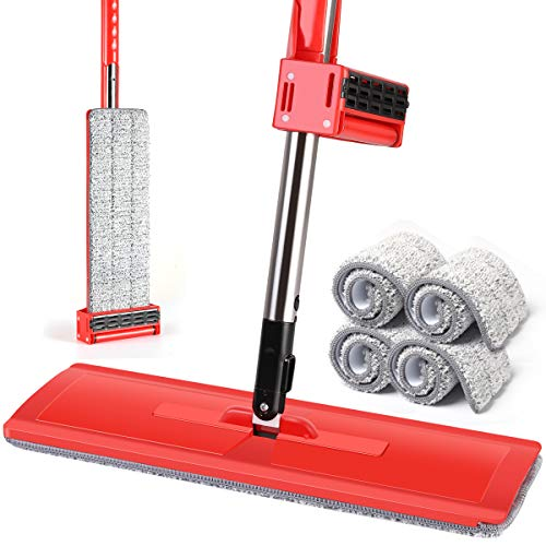 YAMTION Self Wringing Mop, Lazy Flip Flat Mop 360 Spin Wet and Dry Flip Mop 15 Inch with Stainless Steel Handle – Red (Total of 4 Microfiber Mop -