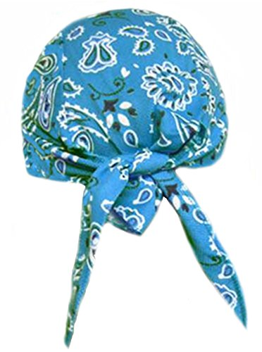 Spandex Headwrap (Skull Cap AQUA BLUE Paisley with SWEATBAND AKA Bikers Cap, Head Wrap, Headwrap, DuRag, Doo Rag, Wrap Bandana, Bandanna 80% Polyester, 20% Spandex Stretchy Material, Easy to Use Under Baseball Caps, Motorcycle or Football Helmets, Running, Jogging, Exercising, Gardening, Cleaning to Keep Hair Out of the Face and Absorb Sweat or For Natural Balding or Use During Chemotherapy Cancer Treatments)