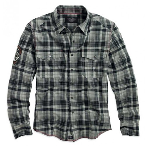 H-D Skull & Flames Plaid Long Sleeve Woven Shirt - (Flame Skull Button Down Shirt)