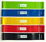 #1 Recommended Exercise Resistance Loop Bands With Carrying Bag/Case- Set of 5 resistance level exercise loop bands