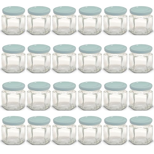 1.5 oz Hexagon Mini Glass Jars with Light Blue Lids and Labels (Pack of 24) for $<!--$19.95-->