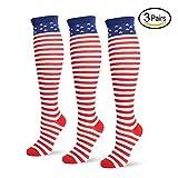 Jasmino Patriotic American Flag Stars & Stripes Socks for Womens Mens 1-3 Pairs (3Pairs USA Knee High Socks)