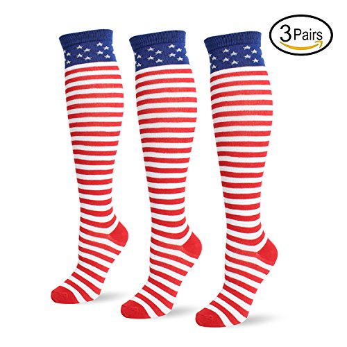 Jasmino Patriotic American Flag Stars & Stripes Socks for Womens Mens 1-3 Pairs (3Pairs USA Knee High Socks) by JASMINO