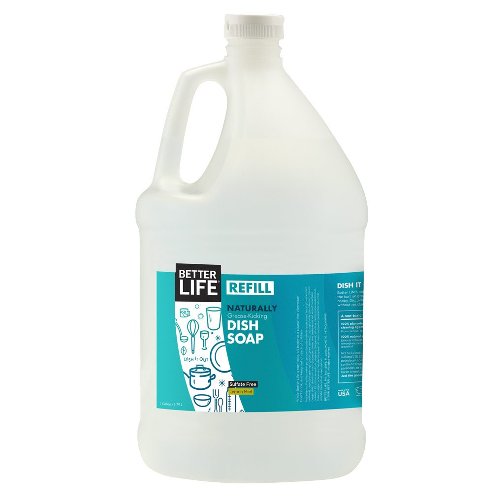 Better Life Sulfate Free Dish Soap Refill, Tough on Grease & Gentle on Hands, Lemon Mint, 128 Ounces, 2406C