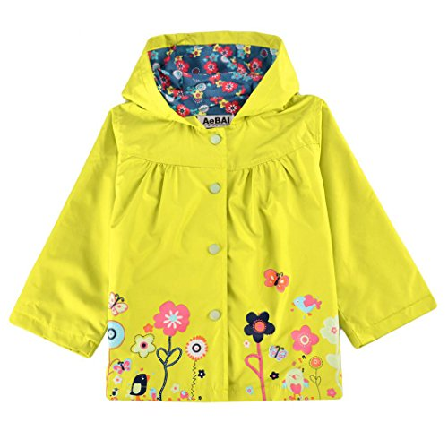 Cute Kids Girls Raincoat ,Flower Hooded Long Sleeve Waterproof Raincoat Jacket Outwear Tops (90, Yellow)