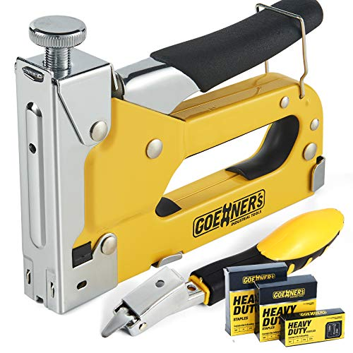 GOEHNER's Staple Gun with Staples, Heavy Duty Stapler 3 in 1 with 3000 Staples for Upholstery, Wood, DIY Fixing (Staple Gun) (Staple Gun + Remover)