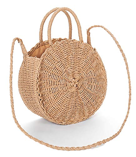 (Obosoyo Straw Crossbody Bag Women Weave Shoulder Bag Round Summer Beach Sea Tote Handbags Lightbrown-Large )