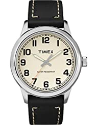 Timex Mens TW2R82000 New England Black/Natural Leather Strap Watch