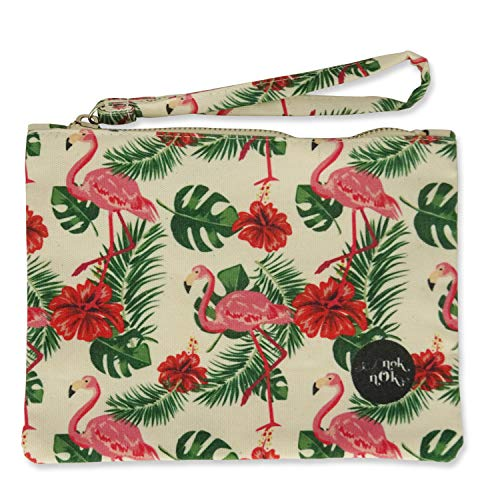 Printed Canvas Pouch, Mini Card Holder, Coin Purse with Zipper in Flamingo w/Hibiscus Plant Pattern - 060