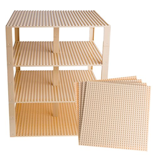 Strictly Briks Classic Baseplates 10 x 10 Brik Tower 100% Compatible with All Major Brands   Building Bricks for Towers and More   4 Sand Colored Stackable Base Plates & 30 Stackers