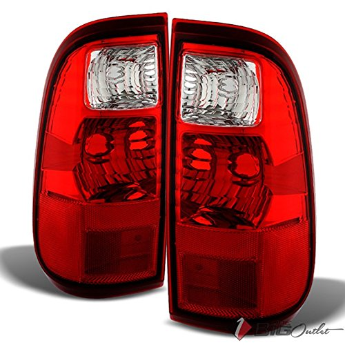 For 2008-2015 F250/350/450 Red Clear Tail Lights Replacement Rear Brake Lamps LH+RH Pair L+R/2009 2010 2011 2012 (Clear Tail)