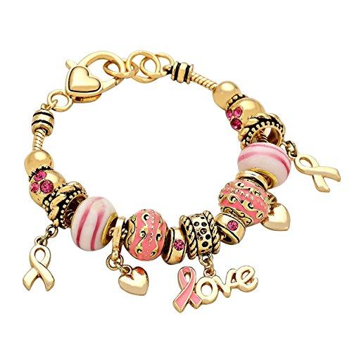 Susan Komen Breast Cancer (Rosemarie Collections Women's Breast Cancer Awareness Beaded Bracelet Pink Ribbon