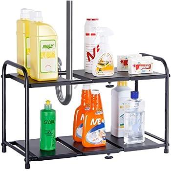 Lifewit Adjustable Under Sink Organizer, 2 Tier Expandable Rack For  Bathroom Kitchen Organization,