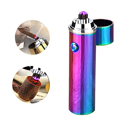 Novelty Wares Innovative Flameless Plasma X Beam Lighter - Rechargeable - Restructured - Pipes - Bowls - Cigars - Windproof - Waterproof- Neon Rainbow | Blue | Gun Metal | Matte Black (Neon) -