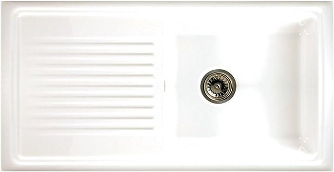 Reginox Rl304cw 1 0 Bowl White Ceramic Reversible Kitchen Sink Waste Amazon Co Uk Diy Tools