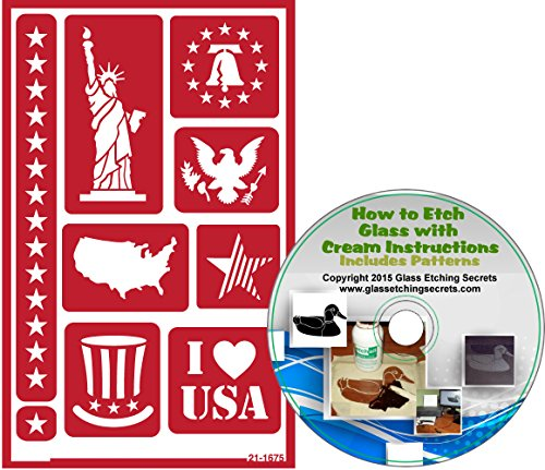 American Patriotic Reusable, Adhesive Stencils: Statue of Liberty, Liberty Bell, Eagle, USA Map, Star & 4th of July Glass Etching Stencils + How to Etch CD ()