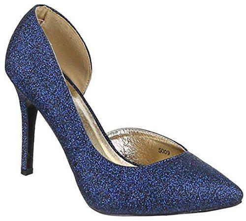 Mywy Tacco Alte Donna Eleganti Scarpe Lurex Alto Blu RH8rRzqxZ