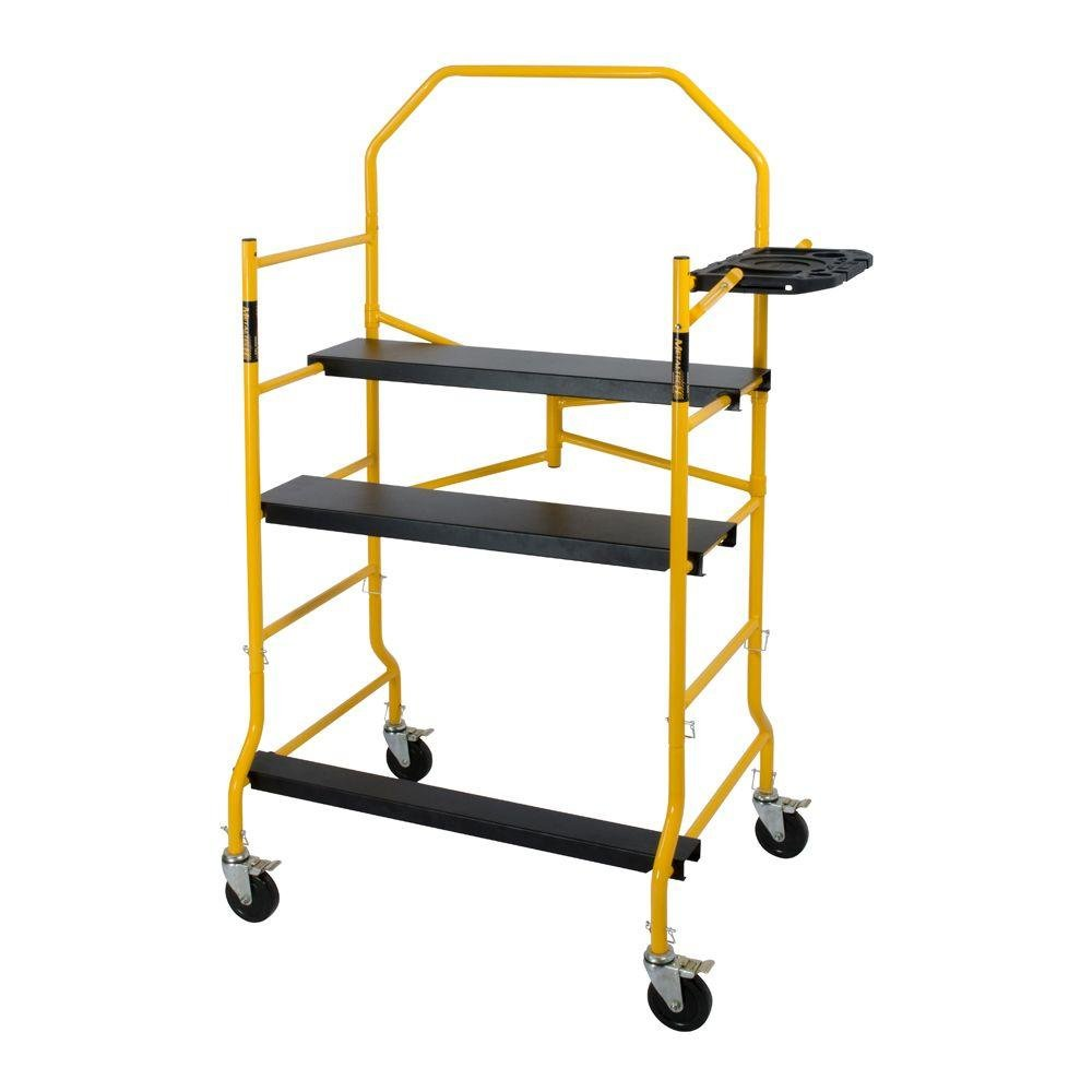 MetalTech 5 ft. Folding 900 lb. Capacity Scaffold with Safety Hand Rail and Tool Shelf