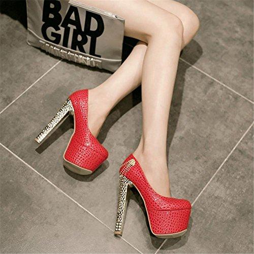 Femmes Soir Rouge Robe RED NVXIE Haute Strass Printemps Forme Dames Pompes Mariée Chaussures Mariage Taille De Talon Blanc EUR39UK665 Plate fCBwqpx
